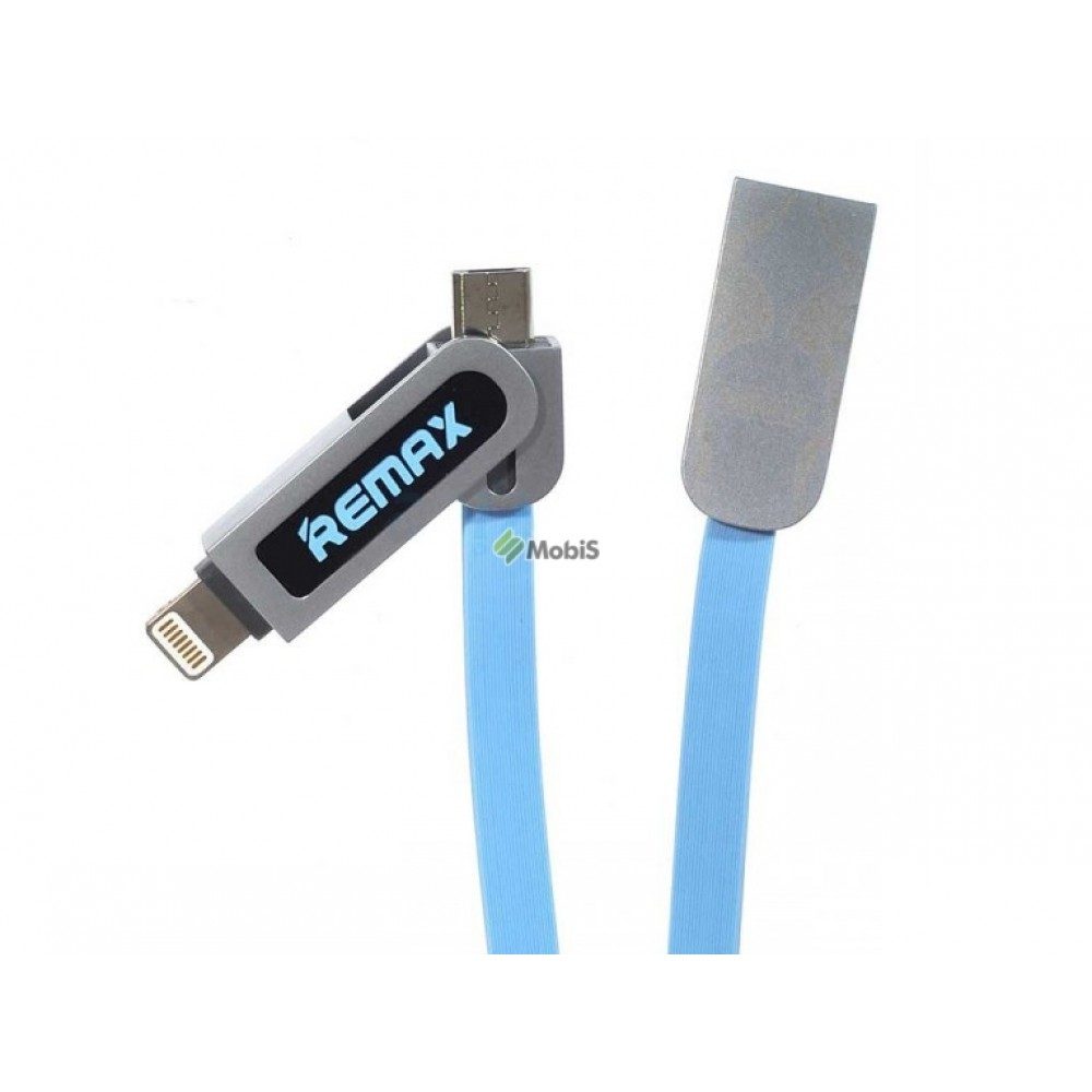 USB Кабель Remax Armor RC-067t 2in1 Micro USB/Lightning Blue (Код: 9002036)