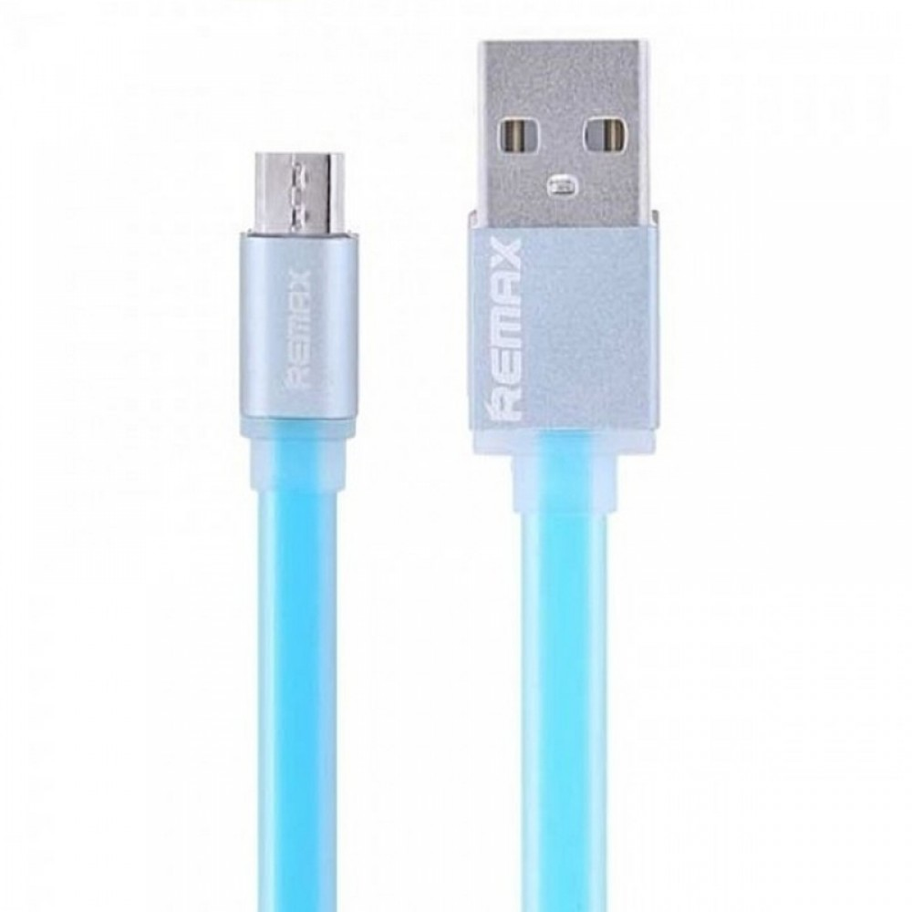 USB кабель Remax (OR) Quick Charge RC-005m MicroUSB Blue Metal 1m (Код: 9002617)