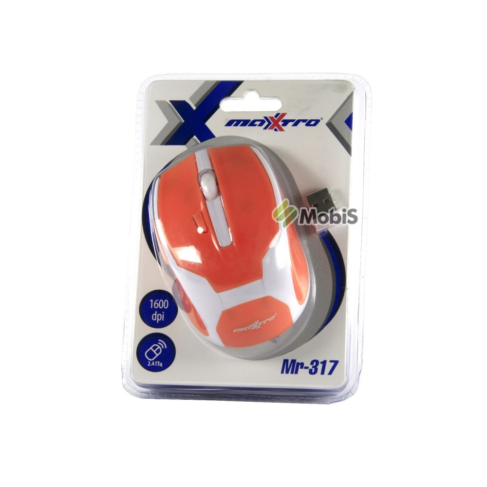 Мышь Wireless Maxxtro Mr-317 Orange 2.4GHz 1200 dpi (Код: 900395)